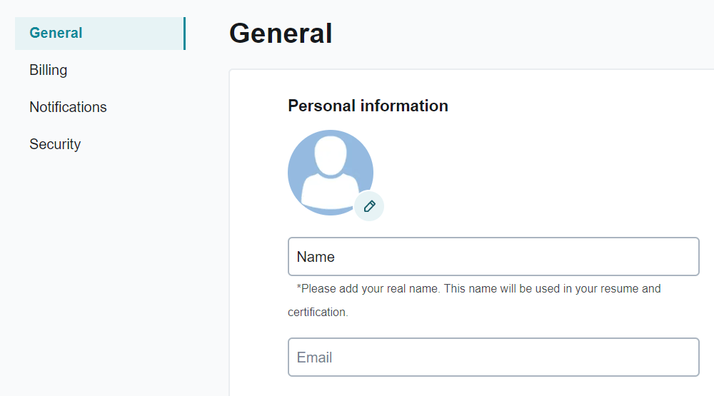 Account Settings/General screenshot