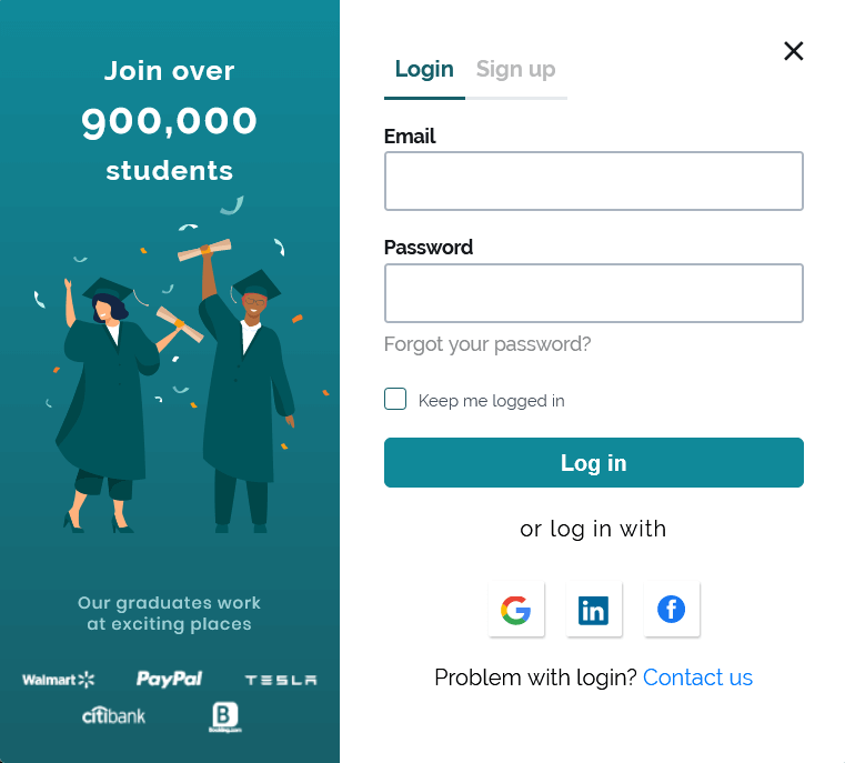 Login screen with Forgot your password link