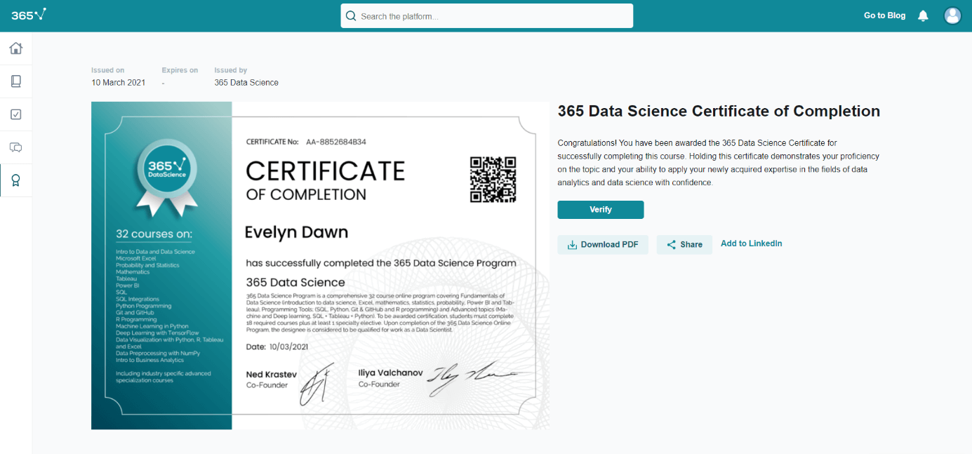Certificate of Completion for the entire program screenshot