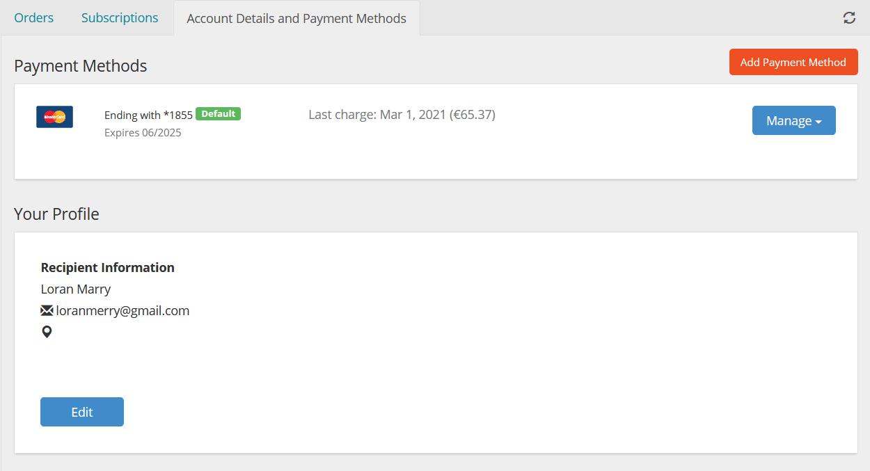 Payment methods screenshot